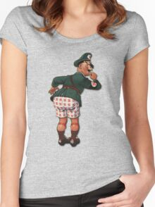 """Caught With His """"Panzers"""" Down... Women's Fitted Scoop T-Shirt"""