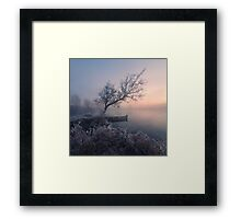 Early morning, a tree and a boat on the lake Framed Print