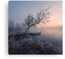 Early morning, a tree and a boat on the lake Canvas Print