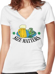 "Very Funny Irish ""Size Matters"" Women's Fitted V-Neck T-Shirt"