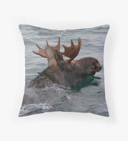 swimming moose Throw Pillow