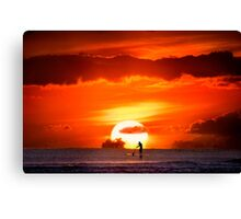 Sunset Paddler Canvas Print