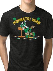 """St Patrick's Day """"Designated Drunk"""" Dark Tri-blend T-Shirt"""