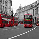 London Buses Selective Colouring by SteveHphotos