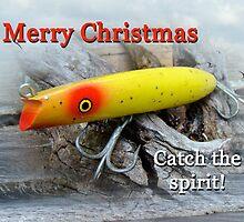 Christmas Greeting Card - Gibbs Darter Vintage Fishing Lure by MotherNature