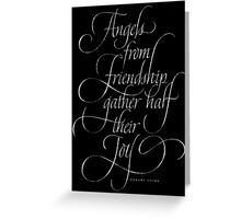 Angels from Friendship - Calligraphy Chalkboard Angel Quote - Christmas Chalk Lettering Greeting Card