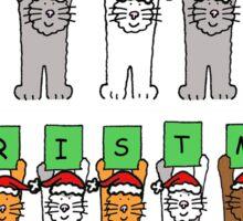 Cats in Santa hats, Happy Christmas. Sticker