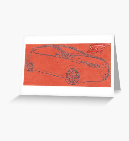 Focus ST Mk3 Drawing with ST Logo Greeting Card