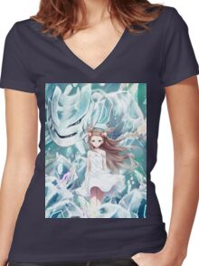 Pokemon - Jasmine - Steelix (no text) Women's Fitted V-Neck T-Shirt