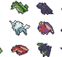 Monster Hunter Pixel Art Stickers by zedotagger