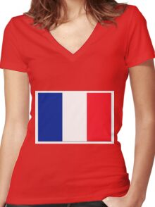 France Flag Shadow Women's Fitted V-Neck T-Shirt