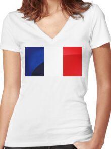 France Flag Circle Women's Fitted V-Neck T-Shirt