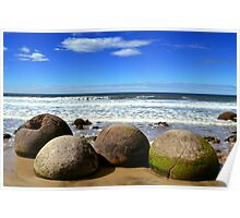 Moeraki Boulders in New Zealand Poster