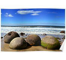 Moeraki Boulders in New Zealand Poster