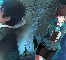 """Psycho-Pass - Akane Tsunemori and Shinya """"Kou"""" Kougami (Title Text) by frictionqt"""