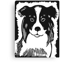 Border Collie Printmaking Art Canvas Print