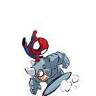 Chibi Spidey VS Rhino by Yaroi
