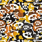 skulls and bones on messy dark background by demonique