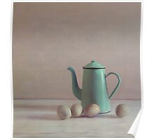 duck eggs and coffee pot Poster