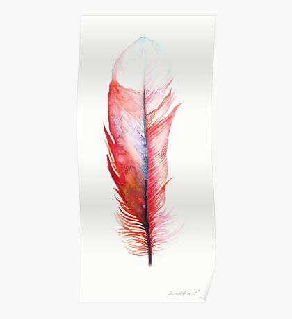 Watercolor Feather Red Poster