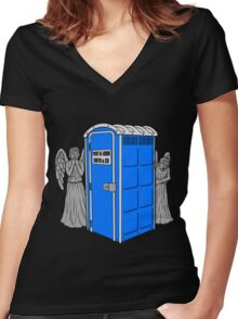 The Angels Have the Wrong Box! Women's Fitted V-Neck T-Shirt