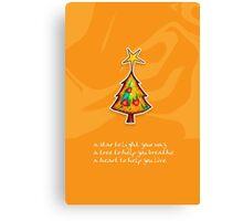 Christmas Card - Groovy Orange Wish Tree Canvas Print