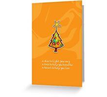 Christmas Card - Groovy Orange Wish Tree Greeting Card