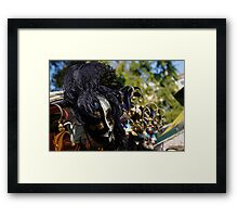 Venice, Italy - Black and White Fantasy Mask With Feathers Framed Print