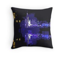 City Light in the mirror lake Throw Pillow