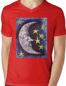 Moon (Paper Mosaic) Mens V-Neck T-Shirt