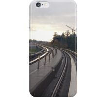 Curving Train Track Past a Pair of Cranes iPhone Case/Skin