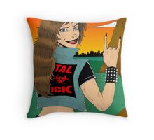 Headbanger Chick - Devil Horns Throw Pillow