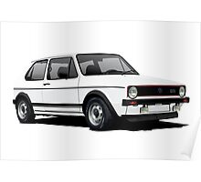 VW Golf GTI Mk1 illustration white Poster