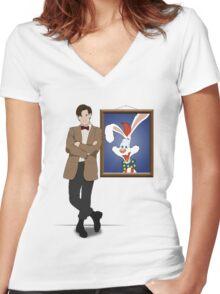 Doctor Who Framed Roger Rabbit Women's Fitted V-Neck T-Shirt