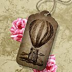 Vintage Tag Hot Air Balloon Roses Pink by hellohappy