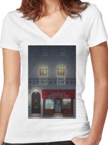 Sherlock Speedy's Cafe christmas Women's Fitted V-Neck T-Shirt