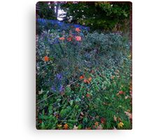 Red Maples Leaves on Deep Purple Asters Canvas Print