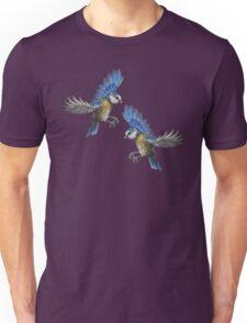 Free Birds, Flying Blue-Tits Illustration Unisex T-Shirt