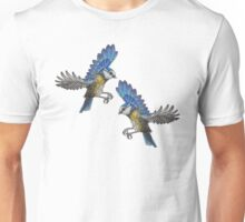 Free Birds, Flying Blue-Tits Illustration Unisex T-Shirt