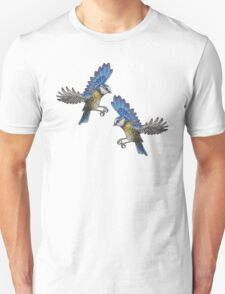 Free Birds, Flying Blue-Tits Illustration T-Shirt