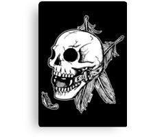 Skull Ball Gag Feathers Canvas Print