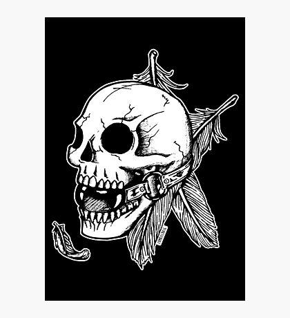 Skull Ball Gag Feathers Photographic Print