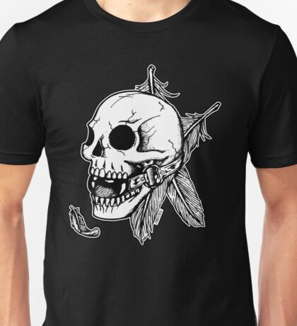 Skull Ball Gag Feathers Unisex T-Shirt