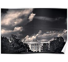 White House with clouds Poster