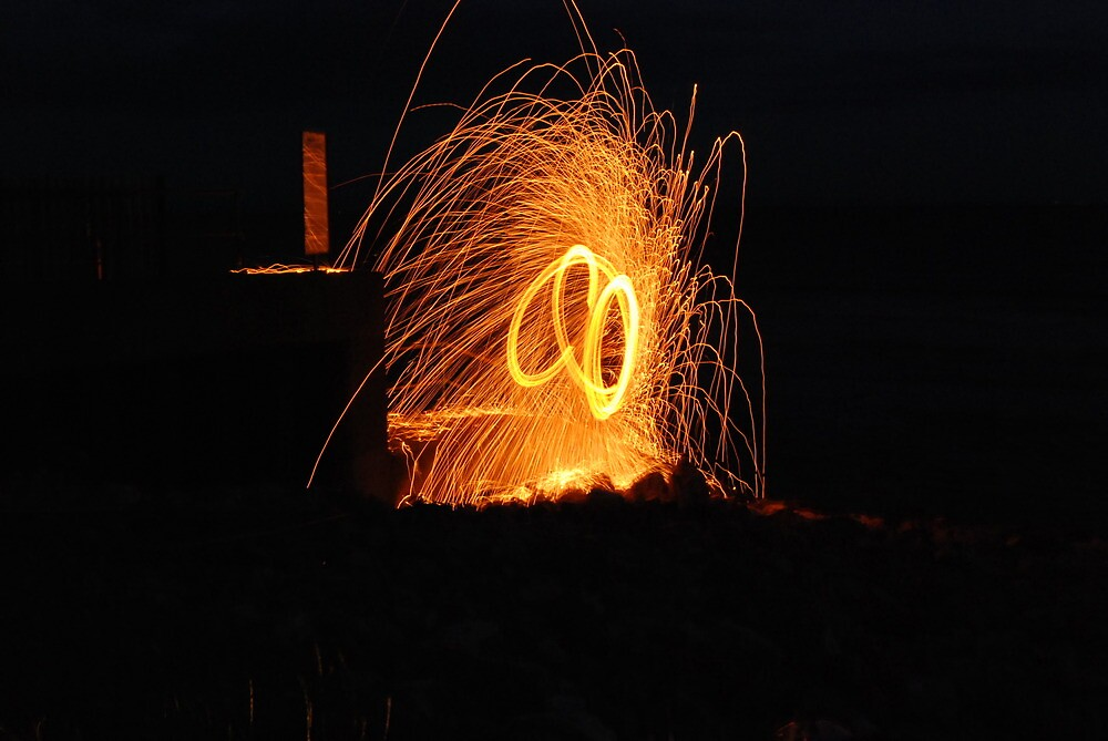 wire wool thirty foot spray of molten metal , lovely shot  by cool3water