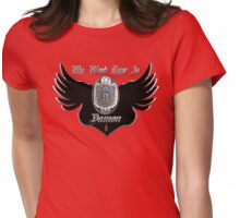 My Blood Type Is Damon Red & Black VD Fan Logo Womens Fitted T-Shirt