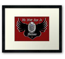 My Blood Type Is Damon Red & Black VD Fan Logo Framed Print