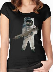 Astro the fun naut: WITH A LAZAR GUN!!!! Women's Fitted Scoop T-Shirt