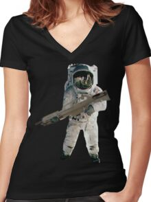 Astro the fun naut: WITH A LAZAR GUN!!!! Women's Fitted V-Neck T-Shirt