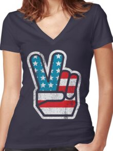 American Peace Women's Fitted V-Neck T-Shirt
